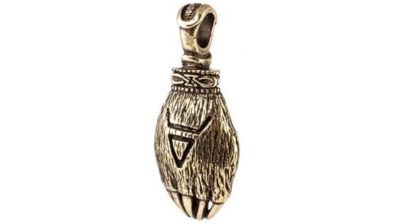 Фотография бронзовой лапы Велеса, вертикальный подвес.